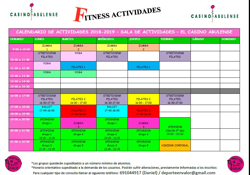 Calendario Fitness 2019.Casino Abulense Agenda